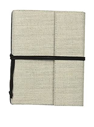 Marina Vaptzarov Medium Linen & Felt Soft Cover Notebook, Beige/Grey