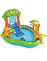 Intex Jungle Fun Playcenter Includes Water Slide, Wading Pool, Detachable Monkey And Giraffe, 6 Fun Balls, Ring Toss And Water Sprayer