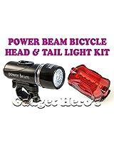 Gadget Hero's Powerbeam Bicycle Headlight & Taillight Kit Black