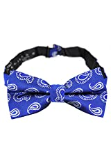 PenSee 100% Silk Mens Pre-tied Bow Tie Paisley Blue & White Bow Ties