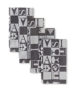 Garnier-Thiebaut Set of 4 Bistrot Guest Towels, Noir, 16