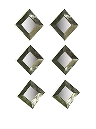 Sidney Marcus Set of 6 Reflections Square Mirrors, Brass