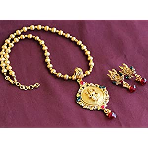 Laxmi Temple Necklace With Gold Plated Bead Ball Chain