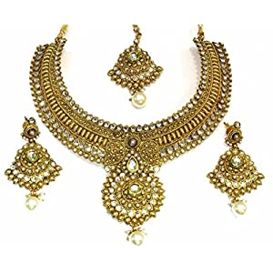Shingar jewellery ksvk jewels antique gold plated polki kundan look necklace set for women (5507-as-a)