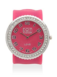 Rolf Bleu Rhinestone Silicone Slap Watch (Hot Pink)