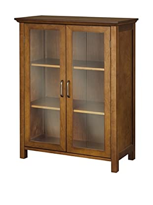 Elegant Home Fashions Avery Double Door Floor Cabinet, Oil Oak