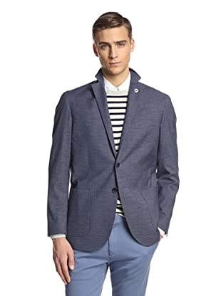 Lubiam Men's Unconstructed Two Button Patch Pocket Sport Coat (Blue)