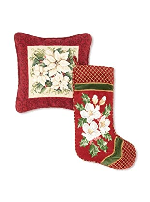 C & F Enterprises Poinsettia Stocking & Pillow Set