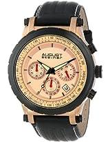 August Steiner Men's AS8085RG Quartz Chronograph Rose-tone Black Leather Strap Watch