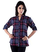 Peppermint Women Cotton Full Sleeves Casual Checked Shirt Red And Purple Large