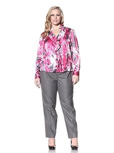 Jones New York Women's Plus Ruffle Front Blouse (New Garland Floral)