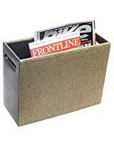 """Belmun, Beige jjute finish with brown sides faux leather magazine holder with handles, L-13""""X W-5""""X H-10"""""""