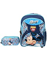 Mickey School Bag Motor Club with Pouch, Multi Color (18-inch)