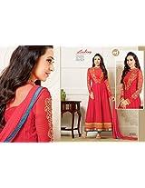 Karishma Kapoor Amazing Red Semi Pure Georgette Anarkali Salwar Kameez