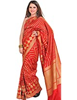 Exotic India Mars-Red and Golden Wedding Saree from Banaras with Zari Weav - Red