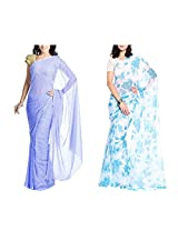 MemSahiba Women Semi-Chiffon Saree set of 2 (MS-1046-1092)