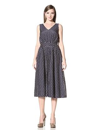 Trovata Women's Natalie Tea Length Dress (Navy Polka Dot)