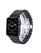 Apple watch band,Luxury Ceramic Bracelet Watch Band Strap Replacement Wrist Band With Adapter For Apple Watch(Ceramic Black&42mm)