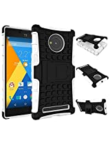 Eccelere dual armor kickstand hybrid case for for Micromax YU Yuphoria YU5010 - White