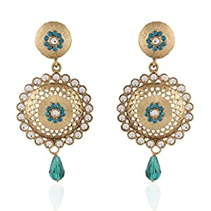 I Jewels Tradtional Gold Plated Handcrafted Kundan Earrings for Women(Bluish Green)(E2089Sb)