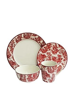 Waverly 16-Piece Country Life Round Dinnerware Set, Red