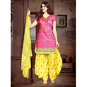Beautiful Pink Patiala Girls Latest Dress Cotton Designer Suit In Low Budget 1019 By Saree Exotica