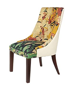 Kantha Accent Chair, Amber/Black Multi