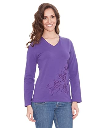 Tulchan Camiseta Embroidered rose (Violeta)