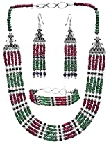 Exotic India Faceted Gemstone Necklace with Matching Earrings and Bracelet Set (Ruby, Emerald and Sa