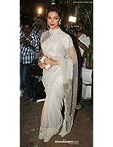 Deepika Padukone in White Bollywood Replica Saree