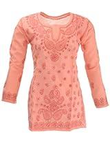 Lucknow Chikan Industry Women's Cotton Straight Kurta (LCI-410, Orange, S)
