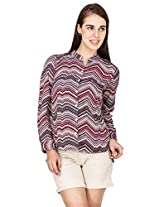 Amari West Womens Striped Shirt(Maroon_M_AWSH000122B4M)