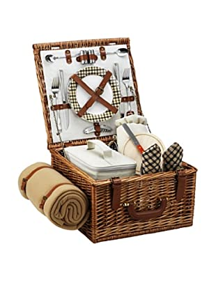 Picnic at Ascot London Plaid Cheshire Basket for 2 with Blanket