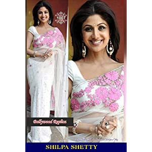 Zohraa Shilpa Shetty White & Pink Saree