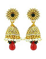 Peora Crystal & Pearl Jhumkis for Women (Multi-colour)