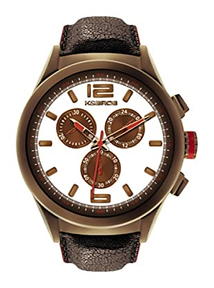 K&BROS 9455-3 / Reloj de Caballero  con correa de piel Marrón