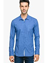 Blue Printed Regular Fit Casual Shirt Status Quo