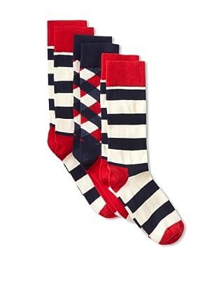 Happy Socks Women's Multi Socks (3 Pairs) (Red/Cream/Navy)