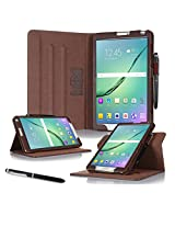 Galaxy Tab S2 8.0 Case, Samsung Galaxy Tab S2 8.0 case, rooCASE Slim Fit Leather PU Multi-Viewing Tabet Stand Folio Case Sleep Wake Smart Cover Brown