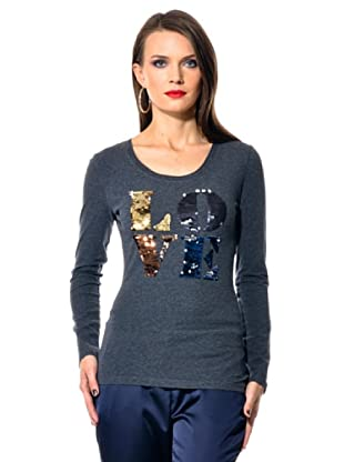 Love Moschino Camiseta Love Lentejuelas (Gris)