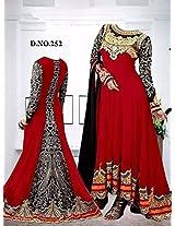 Shree Fashion Woman's Georgette With Dupatta [Shree (89) Red_Red]