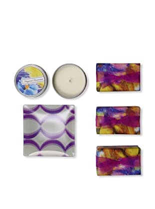 Mudlark Set of 3 Hand-Crafted Soaps in Soap Dish with a Candle Tin, Coralina