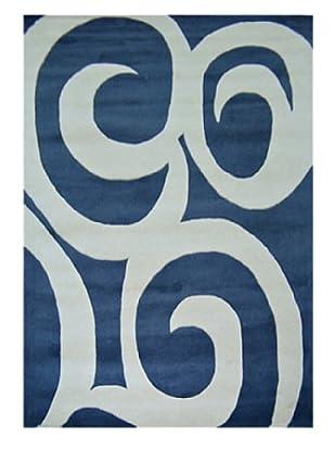 Horizon Beverly Hills Bold Scroll Rug (Ivory/Grey Blue)