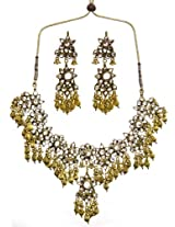 Exotic India Kundan Necklace with Earrings Set with Golden Beads - Copper Alloy with Cut Glass