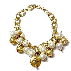 Daamak Jewellery Golden Chain Bracelet -Pearls & Kundan
