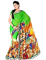 Shree Bahuchar Creation Women's Chiffon Saree(Skb23, Green)