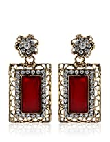 Alloy Earring With Maroon Colour Stone
