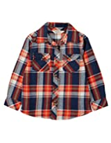 Beebay Boys Orange & Blue Check Shirt (B0215203120818_Blue Check_12Y)
