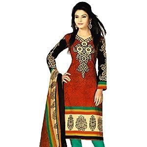 Salwar Studio Red & Green Cotton unstitched churidar kameez with dupatta RTC-5119