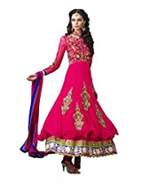 Anvi Creations Hot Pink Net and Cottton Silk Anarkali Dress Material (Hot Pink_Free Size)